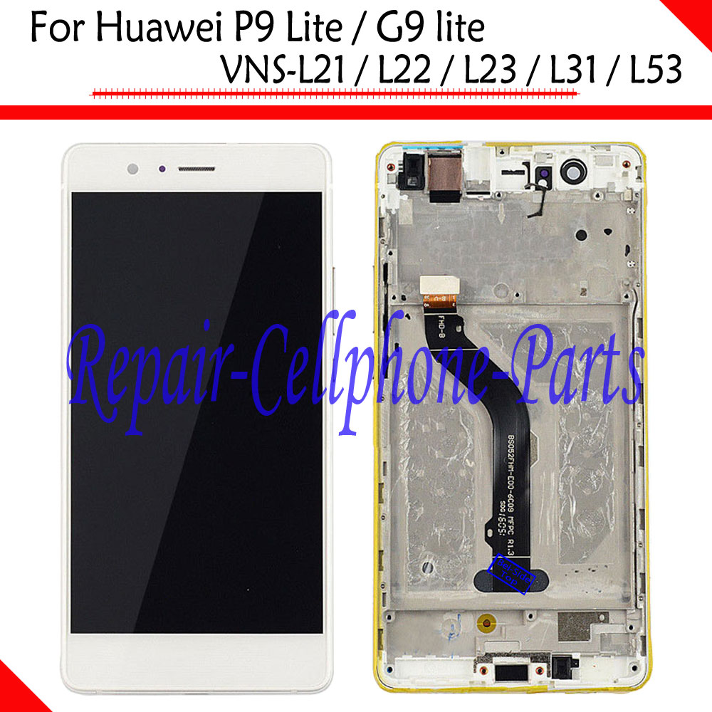White Full LCD DIsplay+Touch Screen Digitizer+Frame Cover Assembly For Huawei P9 Lite / G9 lite VNS L21 / L22 / L23 / L31 / L53