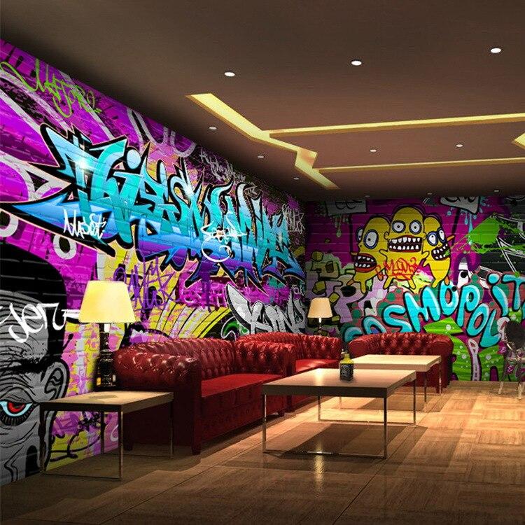 Free shipping Personalized Art Graffiti murals KTV bar