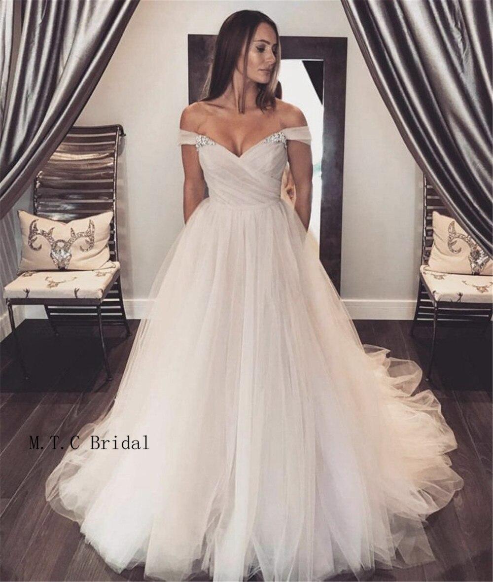 Elegant Ivory Tulle Long Prom Dresses Off The Shoulder Boat Neck A Line Sweep Train Formal