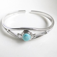 10pcs/lot Wholesale Larimar Bracelet Real Dominican Larimar Stone 100% Sterling Silver 925 Jewelry Bangle for Woman