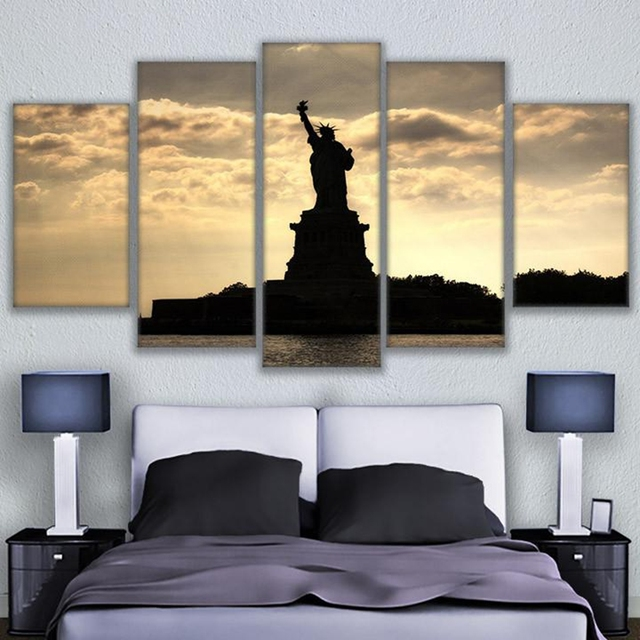 Home Decor Canvas Prints Pictures Framework 5 Piece Statue Of Liberty Paintings Sunset Lady Poster