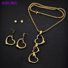AMUMIU new heart stainless steel turkish jewelry sets pendant necklace earrings for women JS073 newest stainless steel fashion heart jewelry 2 colors necklace and earrings sets for women sbjjgbed