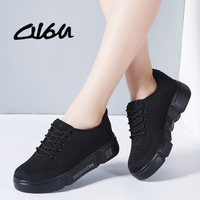 O16U Spring NEW Women Sneakers Shoes Ladies lace up flat Platform white sneakers for Women Mesh Sock Casual Shoes Creepers Pink