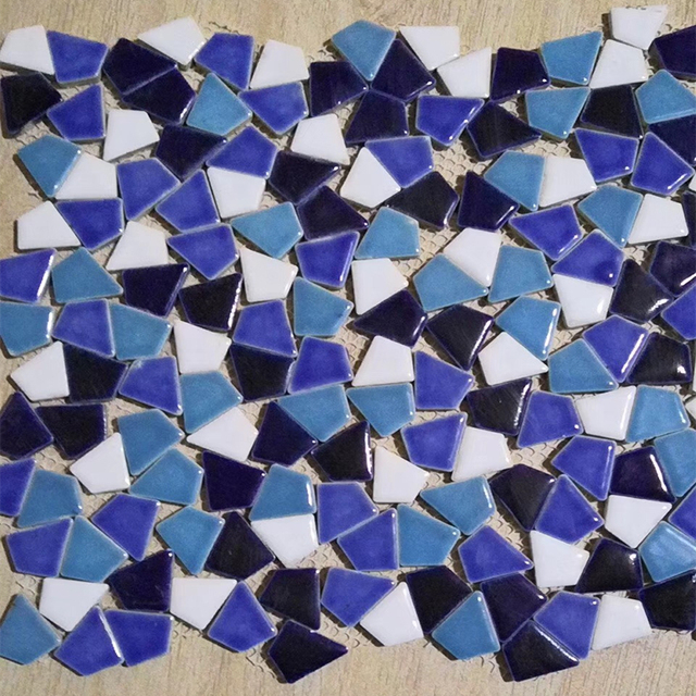 Freestyle Irregular Mediterranean Blue Ceramic Mosaic Tiles For Diy Terrace Garden Bathroom Living Room Floor