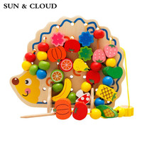SUN & CLOUD 1 Set Learning Education Wooden Toys 82 Pcs Hedgehog Fruit Beads Educational Toy For Children