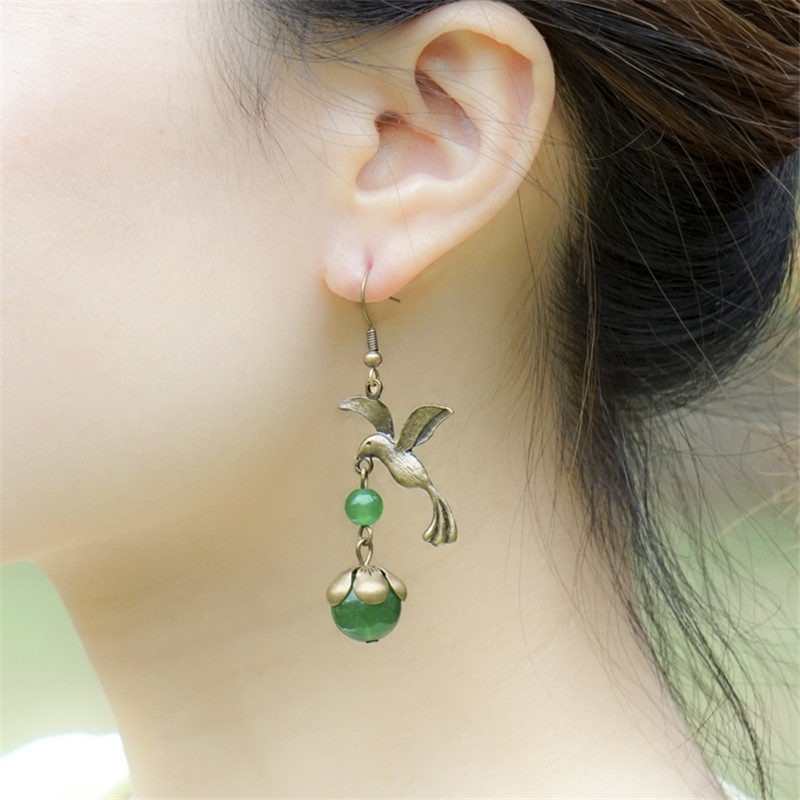 new arrivals women earring beautiful vintage jewelry accessories bird green pendant drop earrings wedding gifts BD067