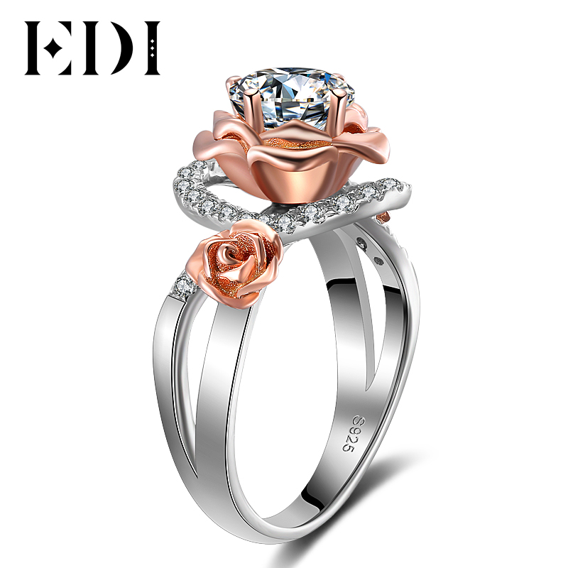 EDI Classic 1ct Round Cut Moissanites Diamond Engagement Rings For Women Soild 9k Gold Rose Flower Wedding Bands Jewelry