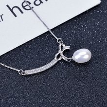 Funmor Elegant Knot Necklace Freshwater Pearl Fine Jewelry Women Female Banquet Prom Wedding Decoration Jewelry Accessories Gift