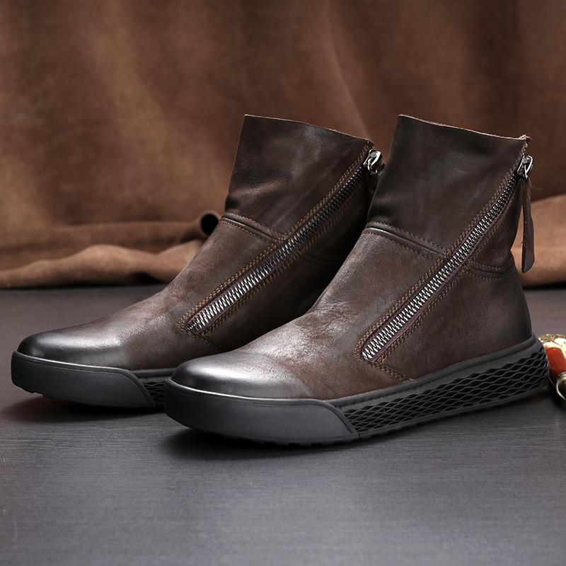 high top shoes men autumn winter British retro new casual fashion autumn winter British retro Riding boots zipper Chelsea boots