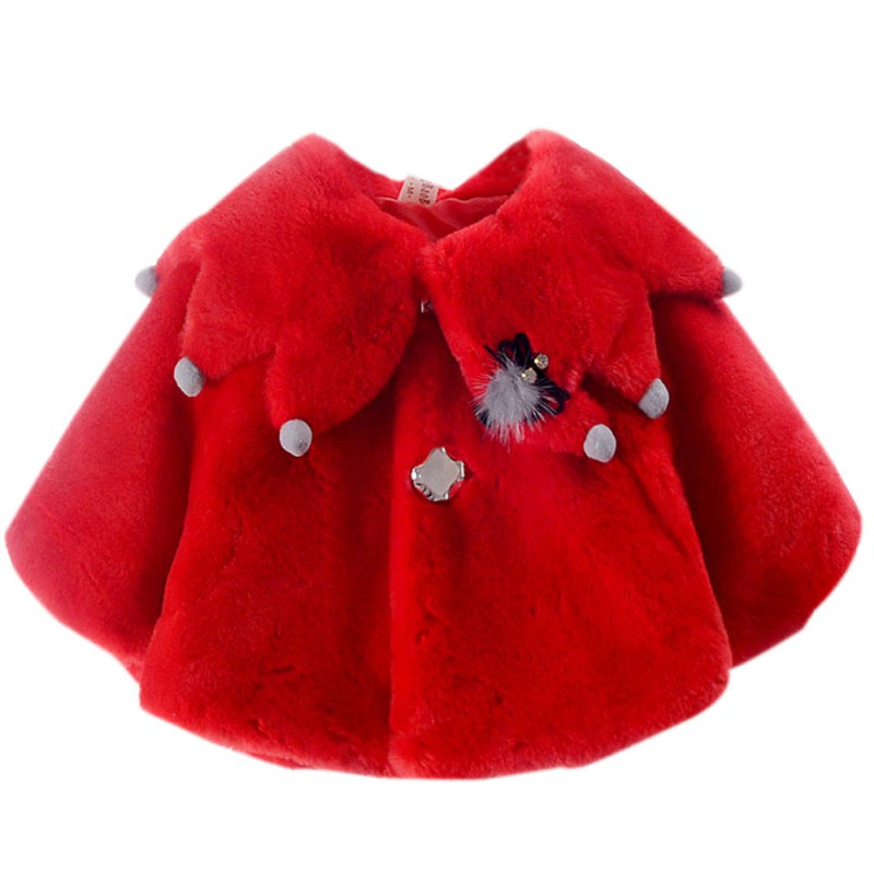 New Sweet Autumn Baby Girls Princess Warm Party Snow Wear Kids Cloak Outerwear 3 Colors M1