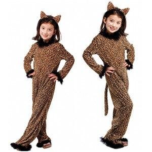 Image 5 - 아이들을위한 할로윈 레오파드 의상 소녀 키티 Catwoman 코스프레 겨울 키즈 동물 잠옷 가장 무도회 카니발 드레스
