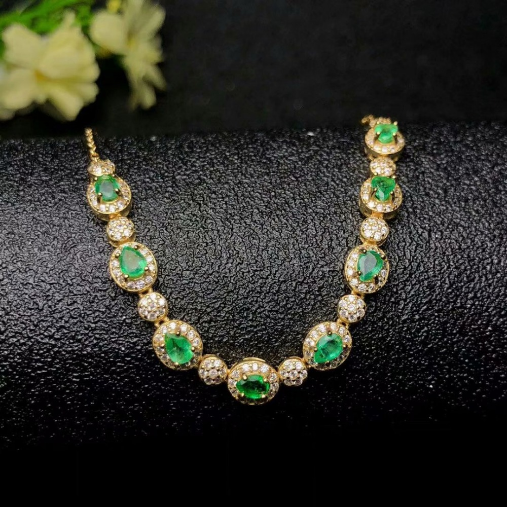 SHILOVEM 925 sterling silver Natural Emerald bracelets classic fine Jewelry women wedding women wholesale yhk0304