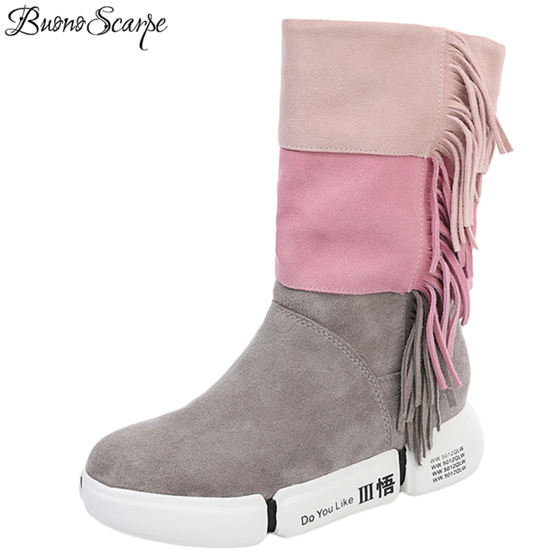 BuonoScarpe 2018 New Arrival Pleated Tassel Boots Platform Mixed Color Casual Mid-Calf Boots Suede Leather Women Sneakers Boots stylish solid color lightweight pleated scarf for women