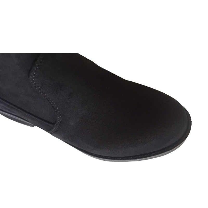 EOFK ผู้หญิงกว่าเข่าบู๊ทส์สีดำ Riding Equestrian Flock หนังรองเท้าผู้หญิงฤดูหนาวให้อุ่น