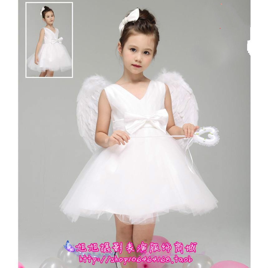 Little Angel Costume flower girl angel with wings tutu white woman bridesmaid dress veil