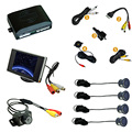 "10-Color Car Rearview Parking Sensor + 3.5"" Monitor + License Plate Camera Video Parking Sensor System #J-2155"