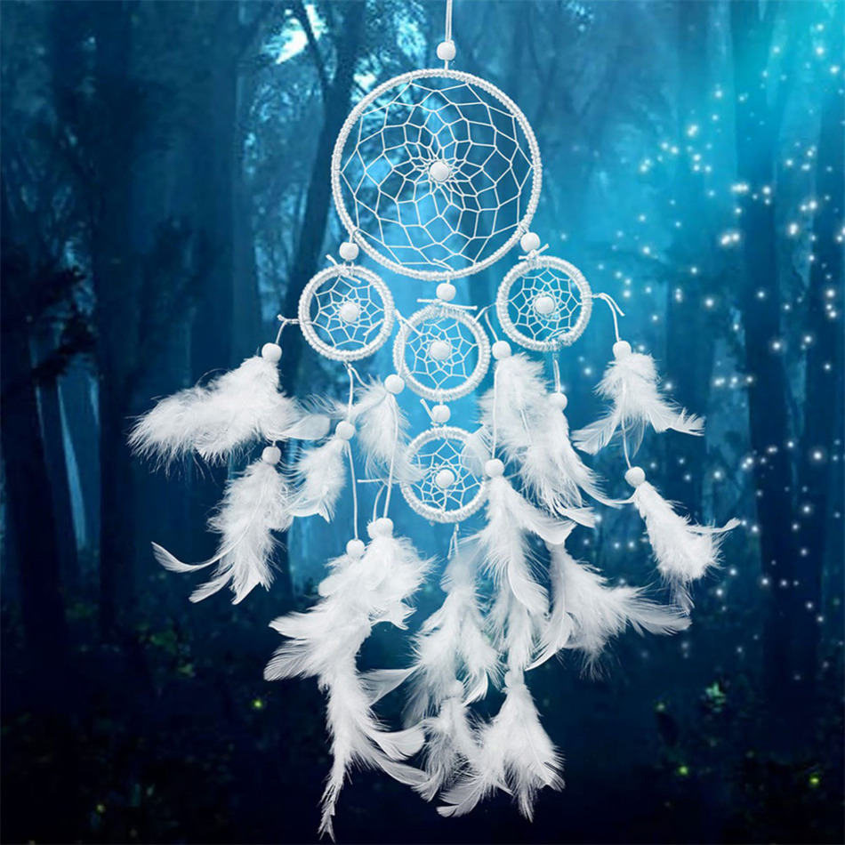 Pictures Of Dream Catchers: White Dreamcatcher Wind Chimes Indian Style Pearl Feather