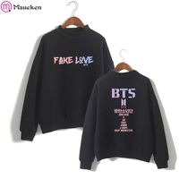 BTS Album Fake Love Pink Sweatshirts Harajuku Women Turtleneck Hoodies Sweatshirts Hoodies Streetwear Kpop Bangtan Boys Clothes