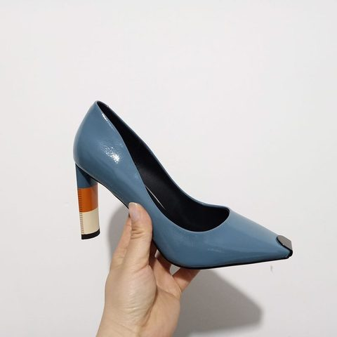 ALLBITEFO Colored heel fashion women high heel shoes metal square toe girls party wedding shoes spring women pumps high heels Multan