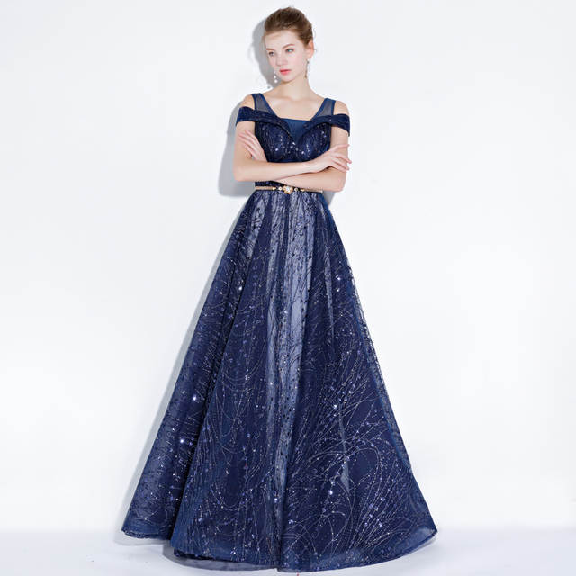 Online Shop Navy Blue Silver Sequined Mother Of The Bride Dresses