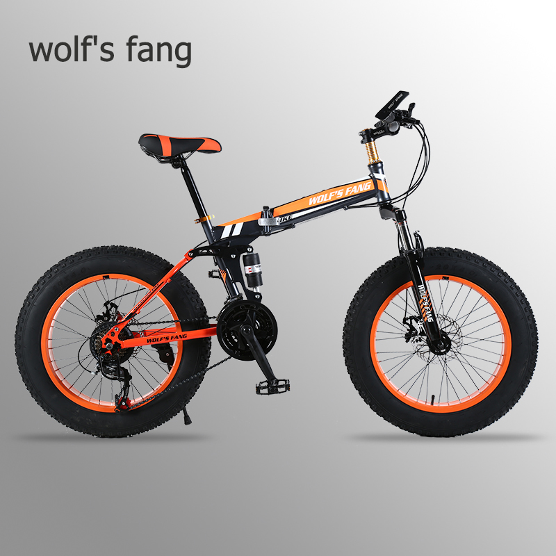 "Wolf's fang Mountain Bike 20""x 4.0 Folding Bicycle 21 speed road bike fat bike variable speed bike  Mechanical Disc Brake"