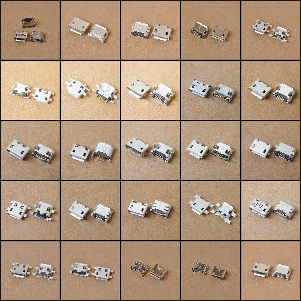 New 50Models / 100pcs Micro <font><b>USB</b></font> <font><b>Jack</b></font> <font><b>5pin</b></font> 7pin <font><b>USB</b></font> Charging Socket Connector Charging Data power Plug Port image