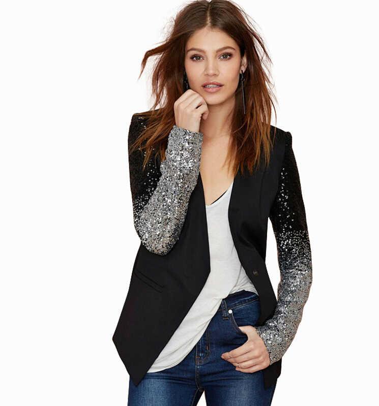 PU Leather Patchwork OL Formal Blazer Silver Gray Gradient Sequins Stitching Slim Women Blazers Coat Autumn Suit Jacket Workwear