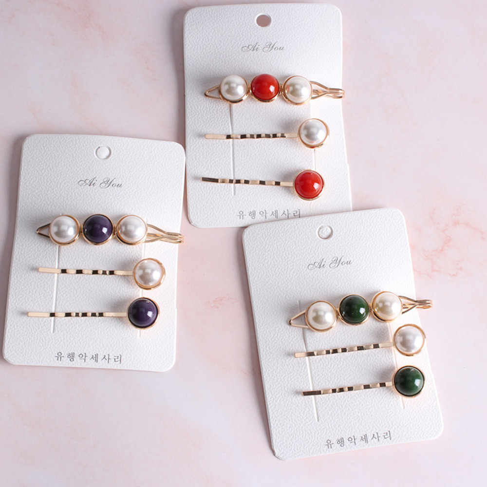 3Pcs/set Fashion Imitiation Pearl Metal Gold Color Hair Clip Bobby Pin Barrette Hairband Hairpin for Women Girl Hair Accessories