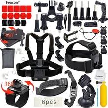FeoconT Sports de Plein Air Accessoires Kit pour GoPro Hero Noir Argent 5/4/3 +/3/2/1 SJ4000 SJ5000 SJ6000