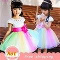 Menina casual A-line vestido Nova chegada verão 2015 flor de Diamante Rainbow princess vestidos crianças vestido Performance de palco navio livre