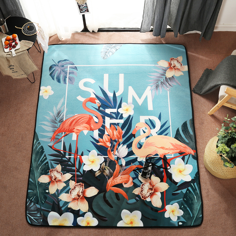 Multicolore velours doux tapis bande dessinée série Flamingo salon décoratif tapis plancher porte pad zone tapis #/