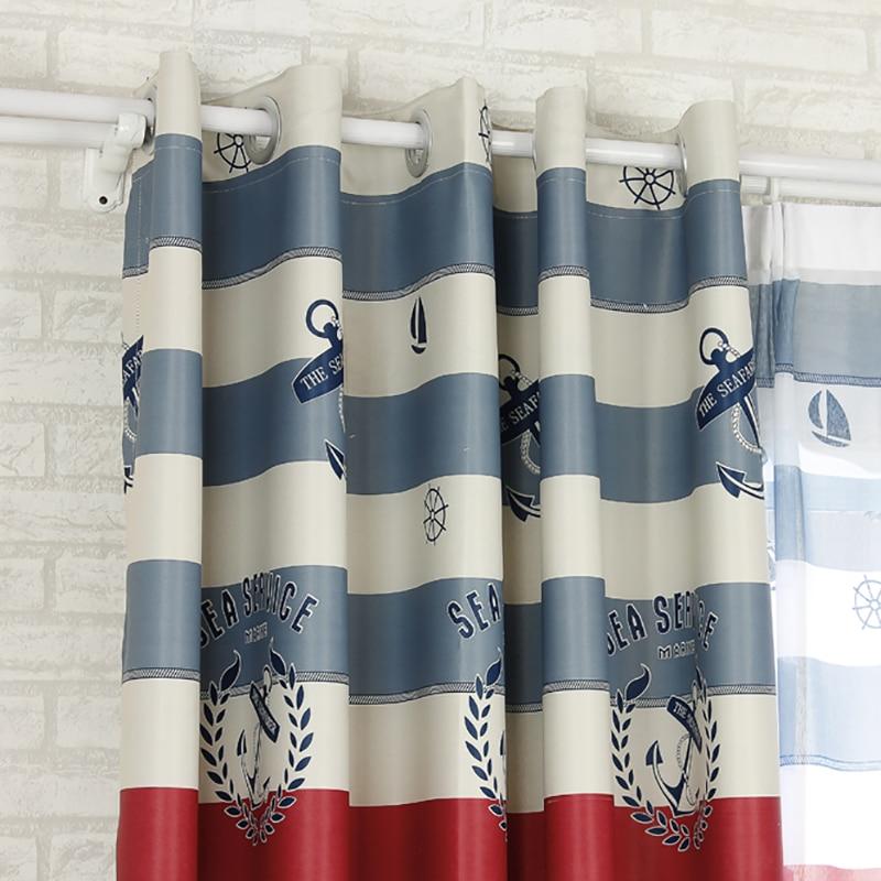 Blau Mediterranen Stil Segelboot Druck Dekorative Vorhang ...