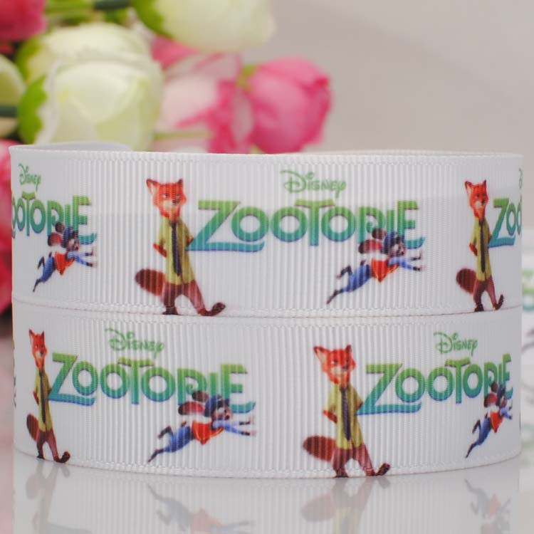 wholesale OEM 50 yards Zootopia printed grosgrain ribbon cartoon ribbon party decoration hair accessaries free shipping