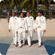 Beach Linen Ivory Mens Suits Wedding For Man Bridegroom Groomsmen Wear Casual Tuxedo 2piece Prom Terno Blazer Masculino