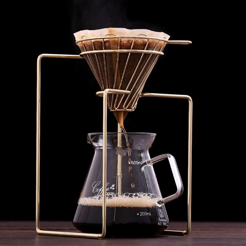 Filtres à café cafetière goutteur géométrique, réutilisable verser sur le support de filtre à café, panier filtrant Permanent