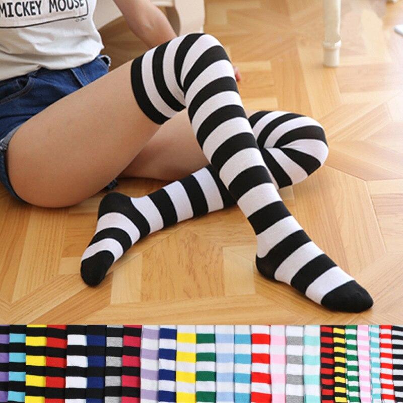 Fashion Popular Candy Color Long Stripe Stockings Sexy Kawaii Women Over Knee High Socks Girls Female Lolita Girlfriend Stocking