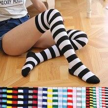 0428de8123c Fashion Popular Candy Color Long Stripe Stockings Sexy Kawaii Women Over Knee  High Socks Girls Female