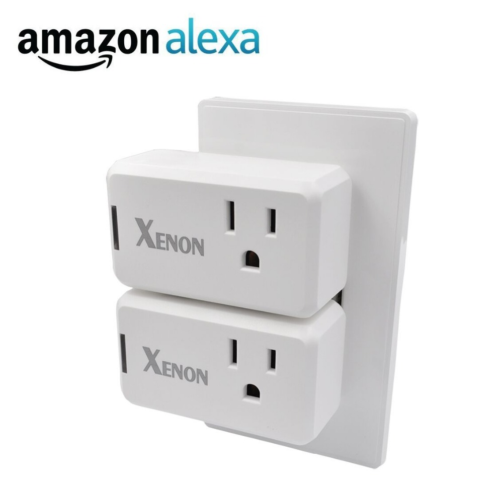 Xenon Smart Plug Mini(2- Pack),No Hub Required,Wi-Fi,Works with Amazon Alexa Control your Devices from Anywhere xenon wi fi bulb smart wreless bulb app control rgb e27 led lamps hot sale smart led lighting bulbs works with amazon echo alexa