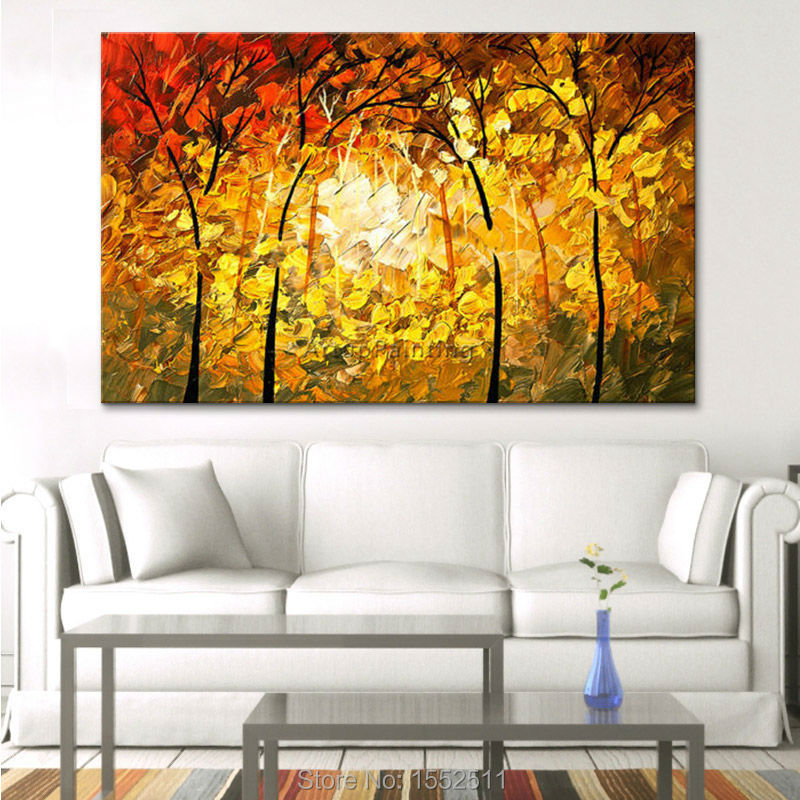 Modern Hand painted Canvas Oil paintings Wall Pictures for Living ...