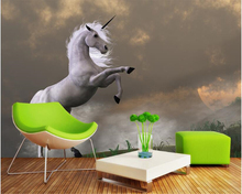 beibehang Custom high fashion interior decoration painting personality wallpaper Unicorn beast bedroom living room papier peint