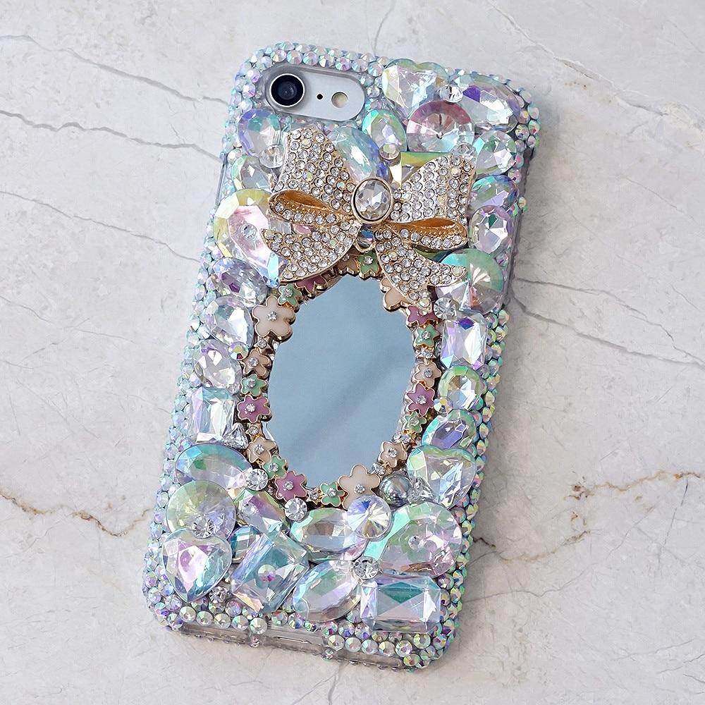 luxury Women Mirror Handmade Rhinestone Diamond Phone ...