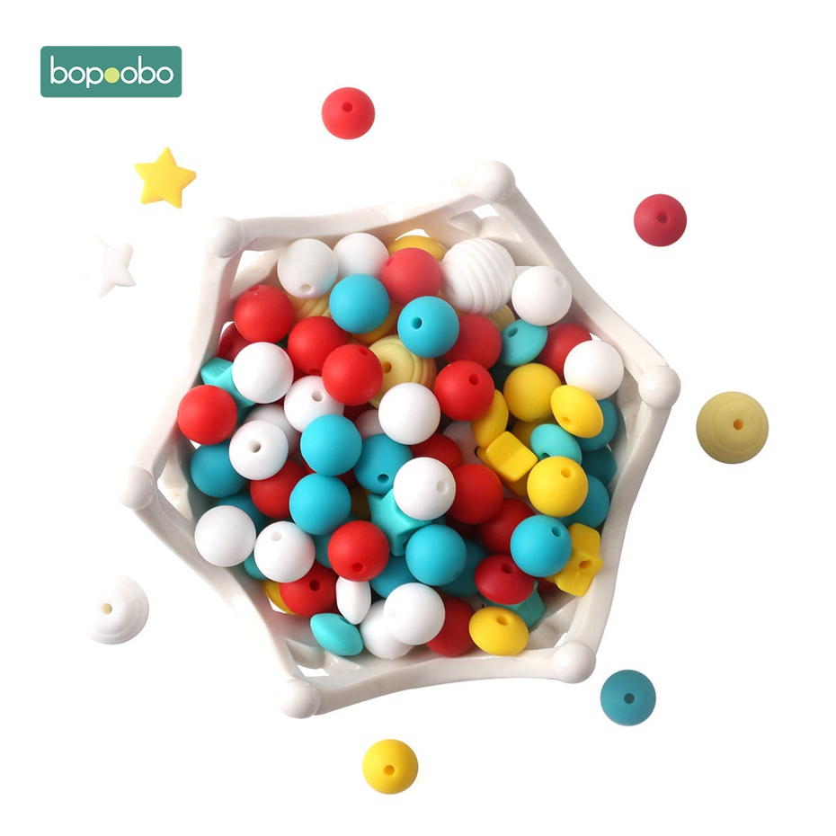 Bopoobo 100PC Baby Silicone Beads Teeth Tooth Fixing Device High Quality Baby Accessories DIY Making Jewelry Necklace Beads