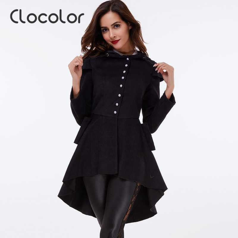 96b3953e5da Clocolor women coat Black coat Overcoat Hooded Long Sleeve Women irregular  Thick Gothic coat Dovetail slanted bottom Women coat-in Wool   Blends from  ...