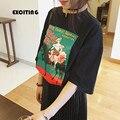 Camiseta de las mujeres 2017 de corea harajuku shirt mujeres tops nueva impresión ocasional tapa del verano de kawaii lindo princesa de impresión mujeres de la camiseta camisetas