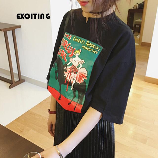Camiseta mulheres 2017 coreano harajuku camisa mulheres encabeça nova impressão ocasional top verão kawaii bonito imprimir camiseta princesa camisas das mulheres T