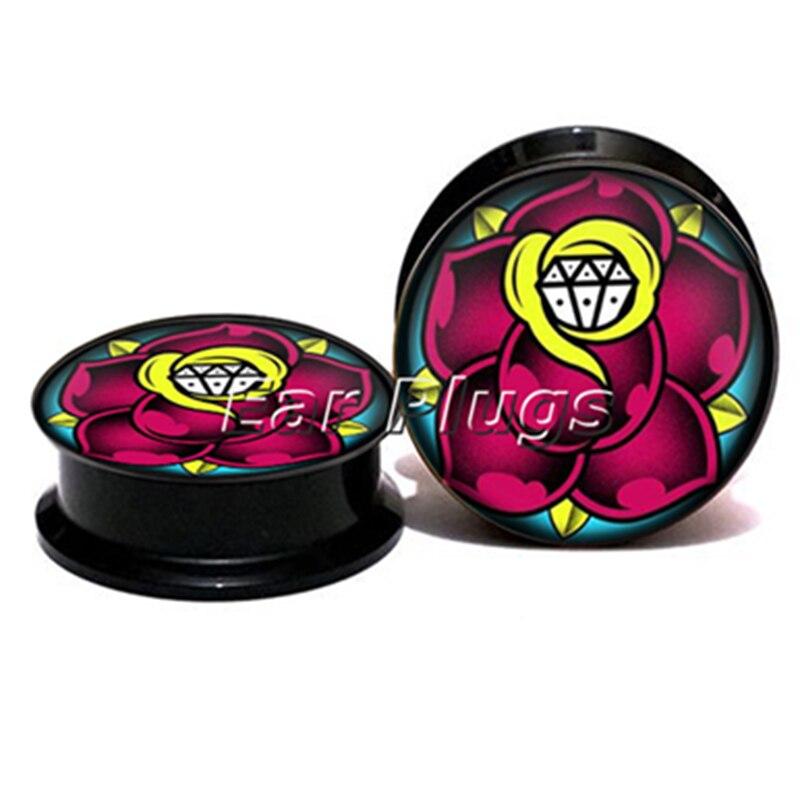 1 pair gem flower ear plug gauges black acrylic screw fit ear plug flesh tunnel body piercing jewelry PSP0783