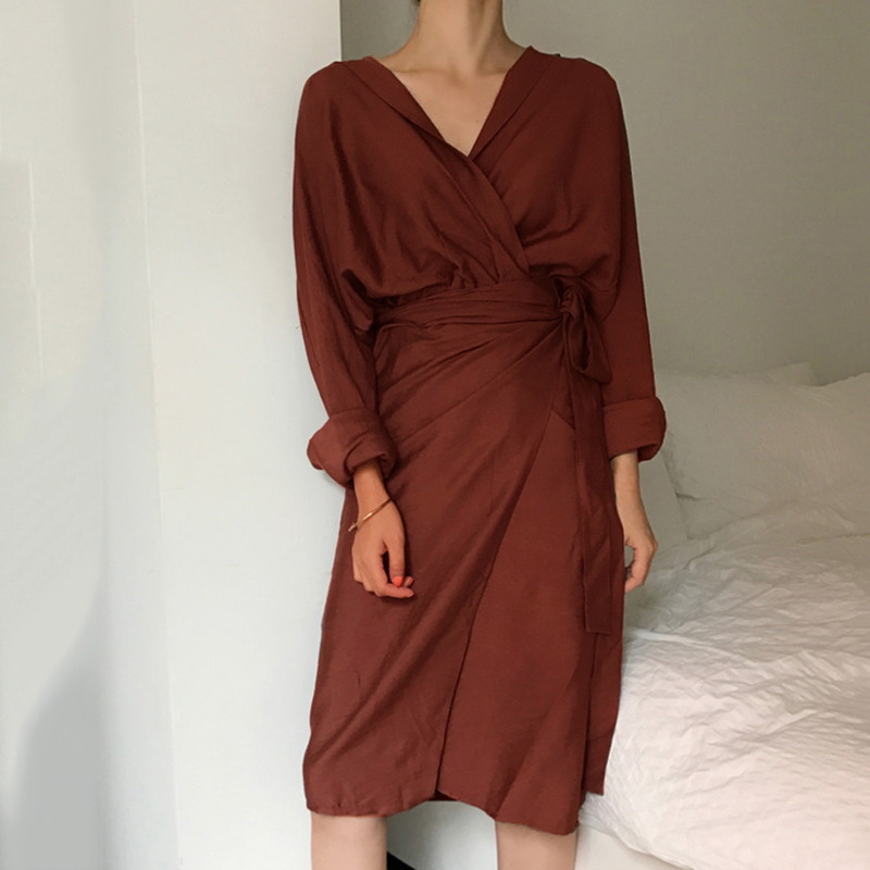 CHICEVER Bow Bandage Dresses For Women V Neck Long Sleeve High Waist Women's Dress Female Elegant Fashion Clothing New 19 20