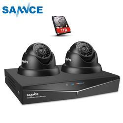 SANNCE 4CH CCTV System 720P DVR 2PCS 1.0MP IR Weatherproof Outdoor Video Surveillance Home Security Camera System 8CH DVR Kit