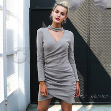 CUERLY Sexy halter v neck winter sweater dress women Ruched long sleeve black bodycon female Chic party autumn 2019
