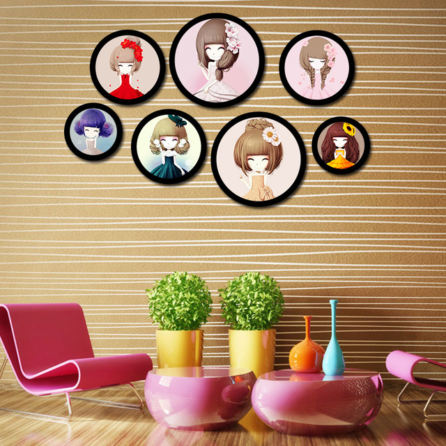 Round Modern Free Combination Frame Wooden European Style Wall ...
